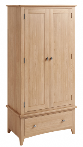 Greenwich Light Oak Gents Wardrobe with Drawer